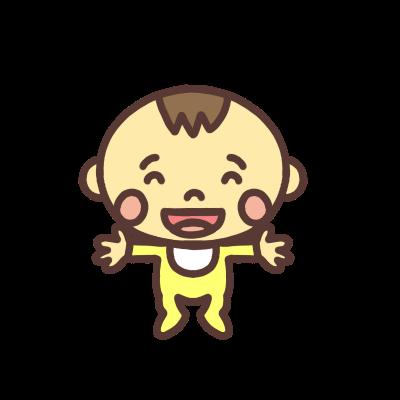 両手を広げて笑う男の子の赤ちゃんのイラスト