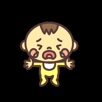 両手を広げて泣く男の子の赤ちゃんのイラスト