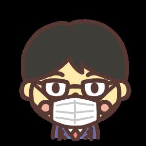 マスク姿の男子学生のイラスト