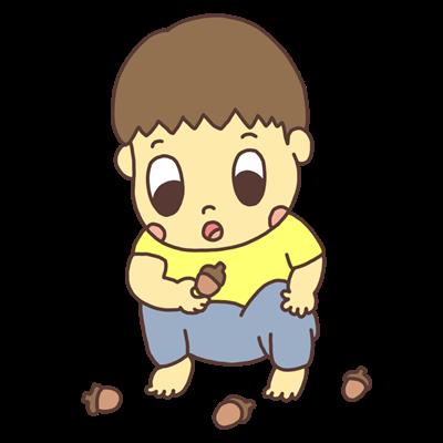 どんぐりを見つめる幼児のイラスト