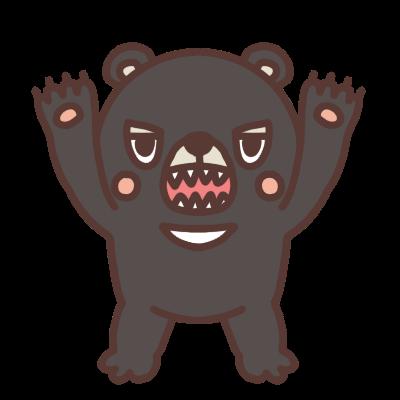 襲いかかるクマのイラスト