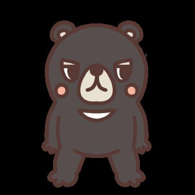 横を見るクマのイラスト