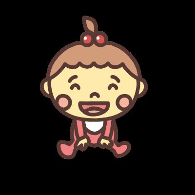 座って笑う女の子の赤ちゃんのイラスト