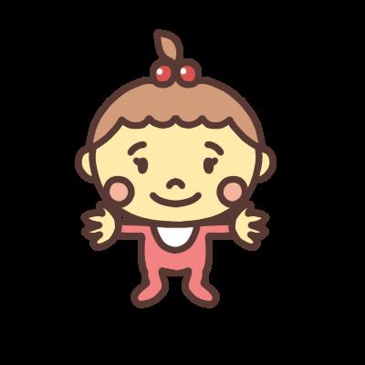 両手を広げる女の子の赤ちゃんのイラスト