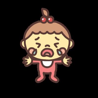 両手を広げて泣く女の子の赤ちゃんのイラスト
