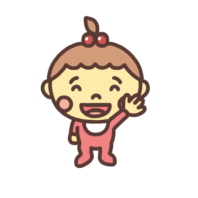 手をあげる女の子の赤ちゃんのイラスト
