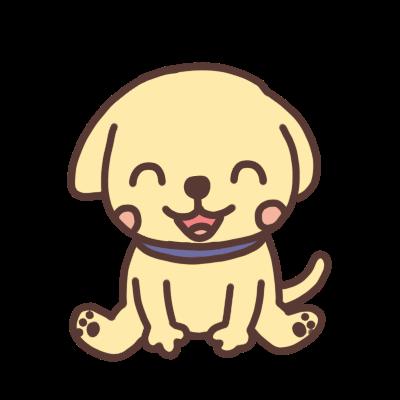 お座りをして笑うイヌのイラスト