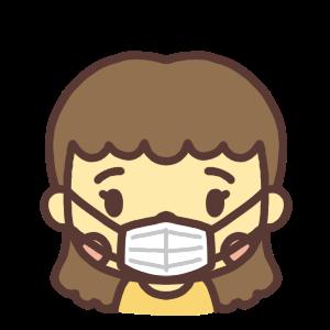 マスク姿の女性のイラスト