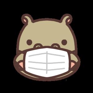 マスクをするカバのアイコンイラスト