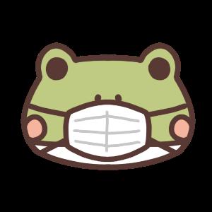 マスク姿のカエルのアイコンイラスト