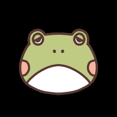 眠たそうな表情のカエルのアイコン