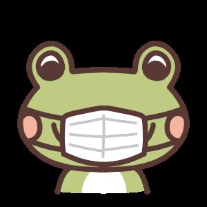 マスクをしたカエルのイラスト