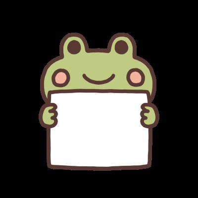 メッセージボードを持つカエルのイラスト