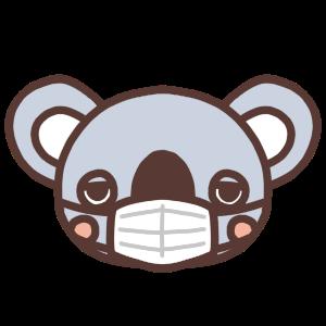 マスク姿のコアラのイラスト