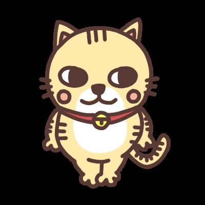 横を見るネコのイラスト