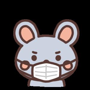 マスクをしているネズミのイラスト