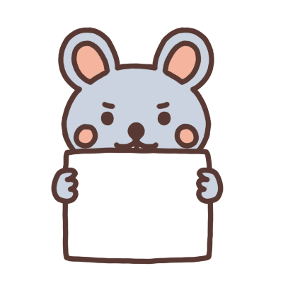 メッセージボードを持つネズミのイラスト