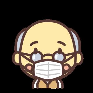 マスクをするおじいちゃんのイラスト