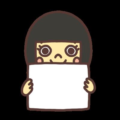メッセージボードを持つ女の子のイラスト