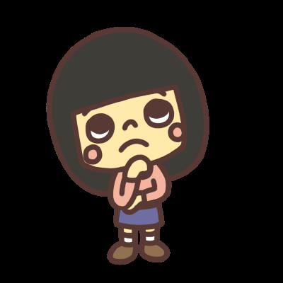悩んだ顔の女の子のイラスト