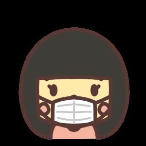 マスク姿の女の子のアイコンイラスト