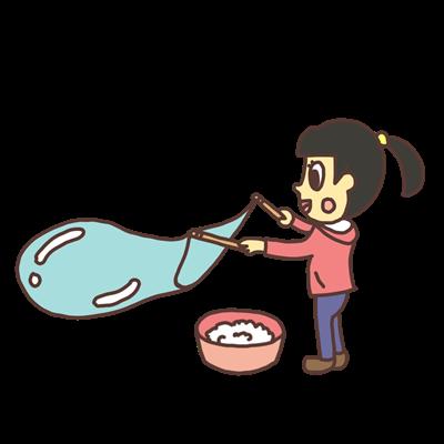 大きいシャボン玉を作る女の子のイラスト