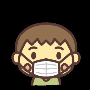 マスク姿の男の子のアイコンイラスト