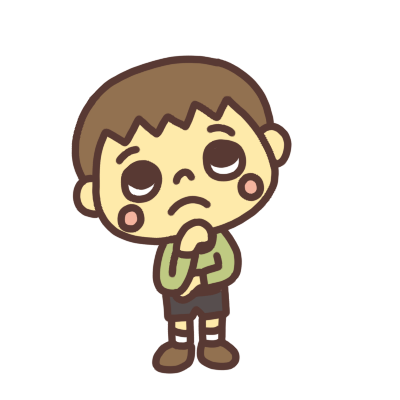 悩んだ顔の男の子のイラスト