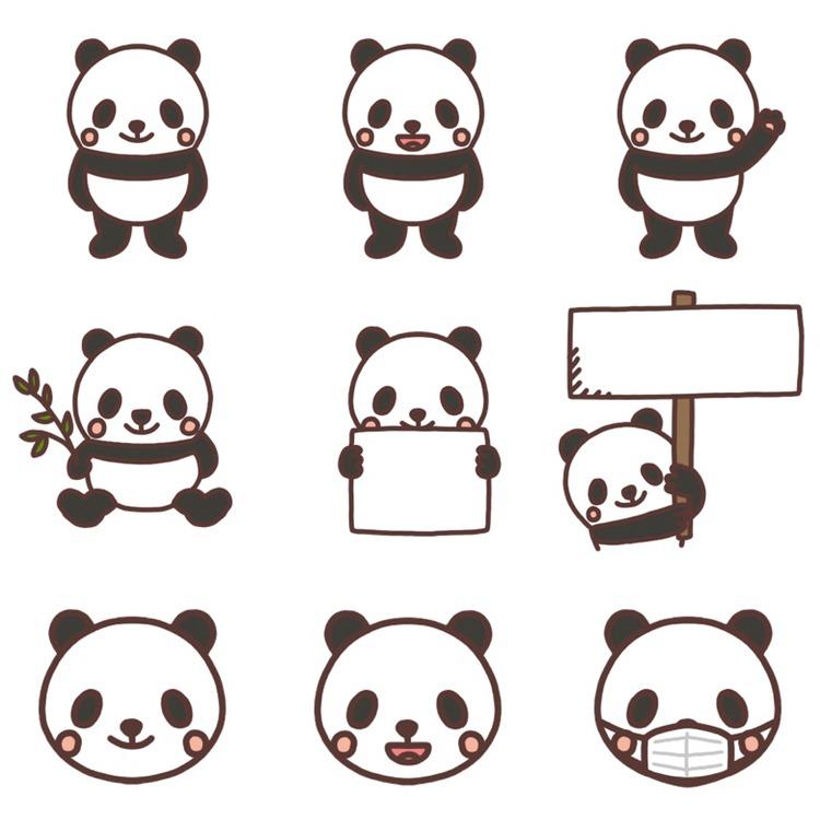 いろいろなパターンのパンダのイラスト
