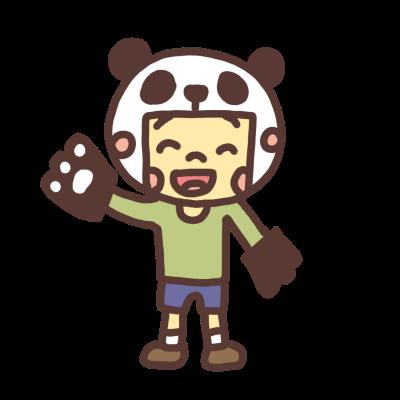 パンダのカブリモノをする男の子のイラスト