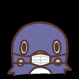 マスクをするペンギンのアイコンイラスト