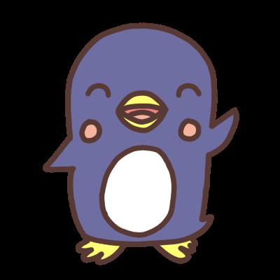 手をあげるペンギンのイラスト