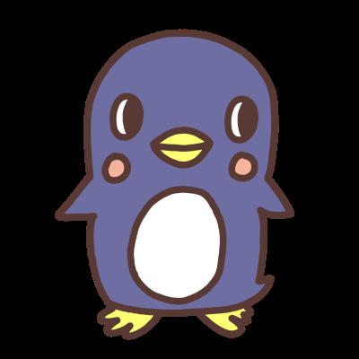 横を見るペンギンのイラスト