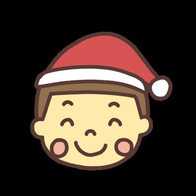サンタの帽子をかぶった笑顔の男の子のアイコンイラスト