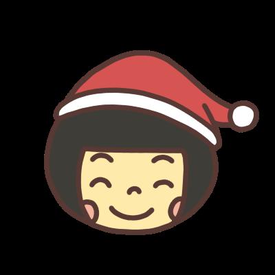 サンタの帽子をかぶった笑顔の女の子のアイコンイラスト