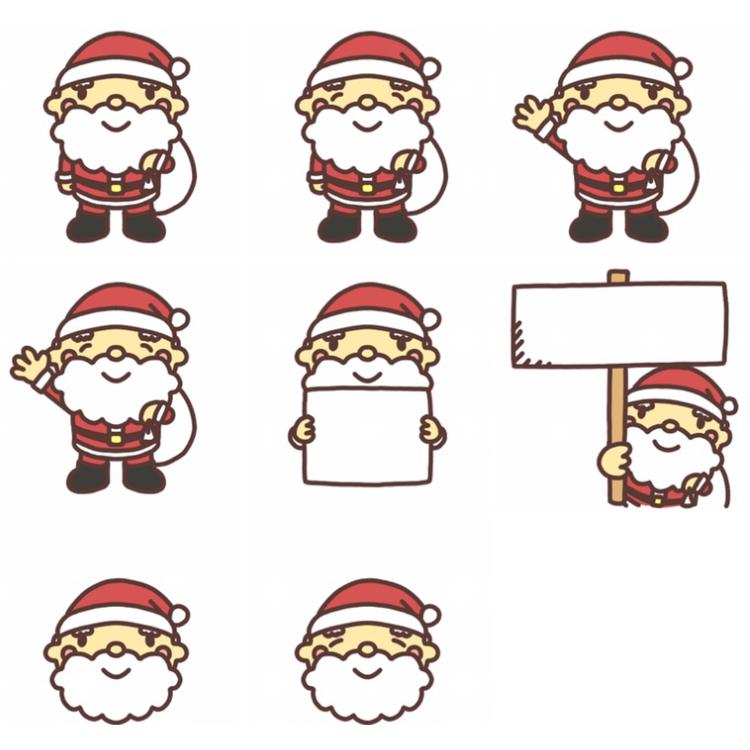 サンタクロースのイラスト 8種類
