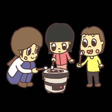七輪でマシュマロを焼く子どものイラスト