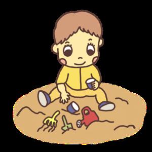 砂場で遊ぶ幼児のイラスト