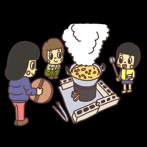 焚火でなべ料理をする子どものイラスト