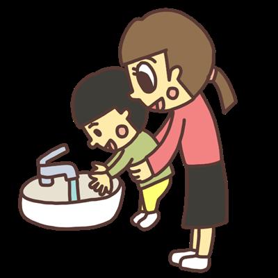 手を洗う幼児のイラスト
