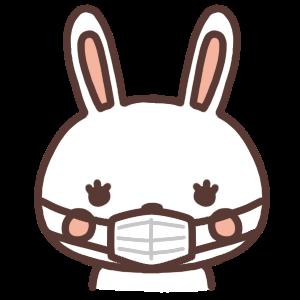 マスクをするウサギのアイコンイラスト