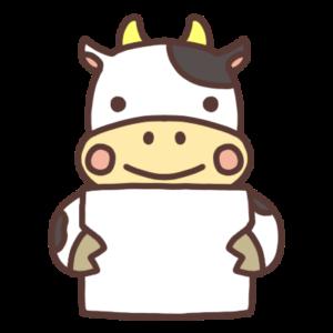 メッセージボードを持つ牛のイラスト