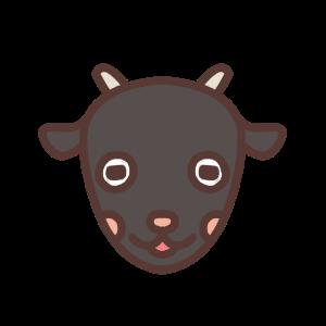 口を開けるクロヤギのアイコンイラスト