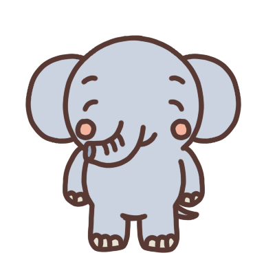 笑顔のゾウのイラスト