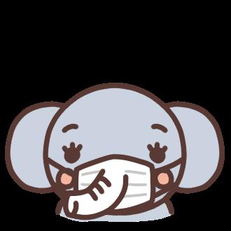 マスクをするゾウのイラスト