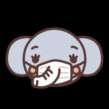 マスクをするゾウのアイコンイラスト