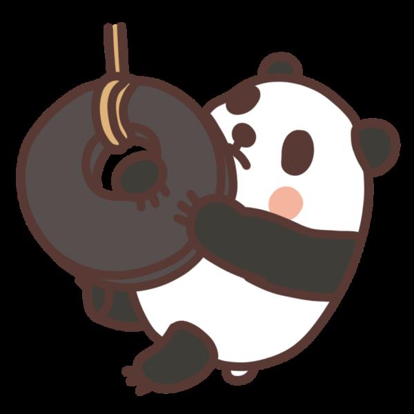 タイヤで遊ぶパンダのイラスト