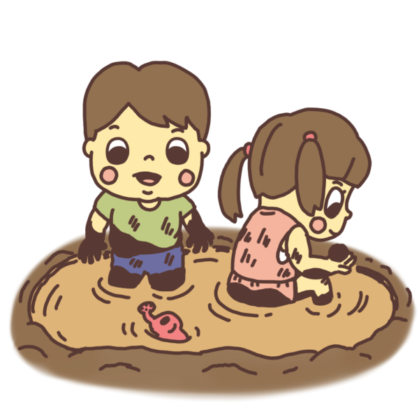 泥の水溜まりで遊ぶ子どものイラスト