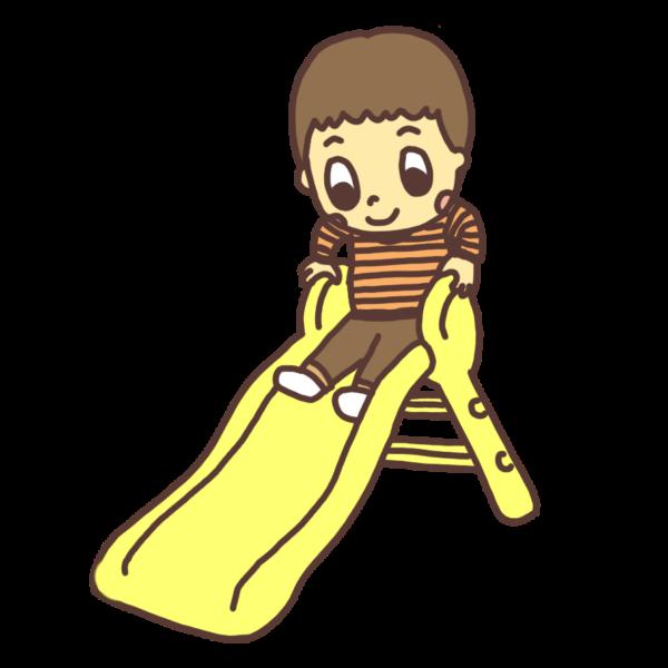 室内の滑り台で遊ぶ幼児のイラスト