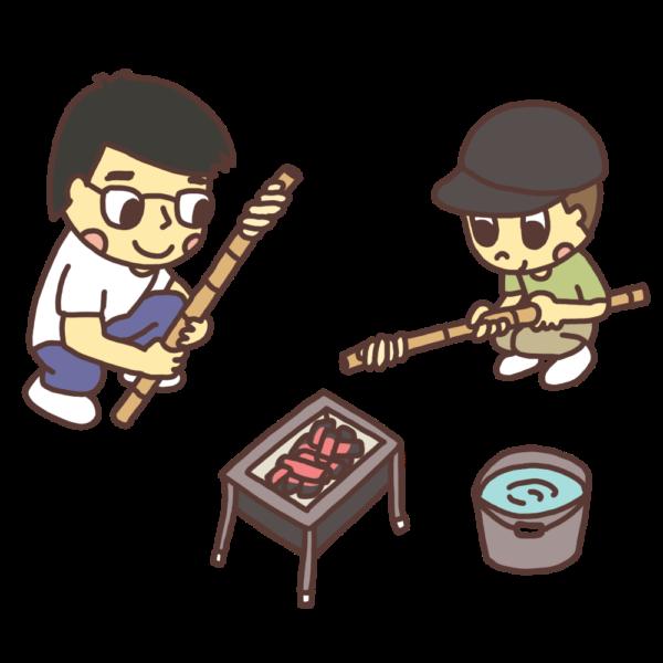 棒巻きパンを焼く子どものイラスト